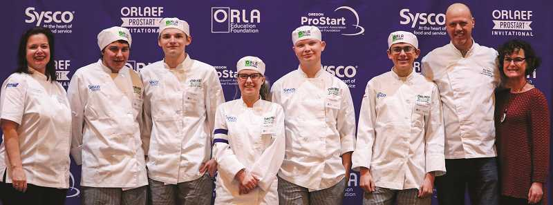PHOTO COURTESY OF HEIDI JANKE OF ORLA - The CCHS Culinary Team poses for a photo. The group placed fourth in the state competition.