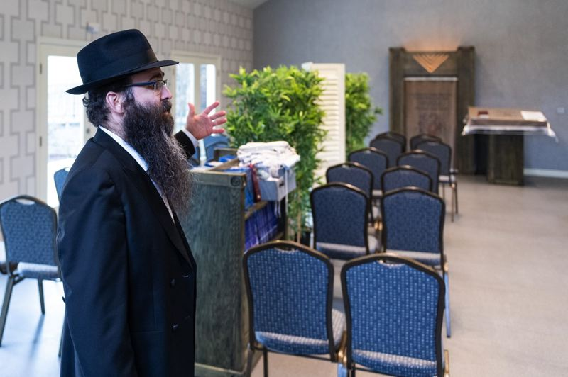 PMG FILE PHOTO: - Rabbi Menachem Rivkin in the synagogue at the Chabad Jewish Center of Hillsboro.