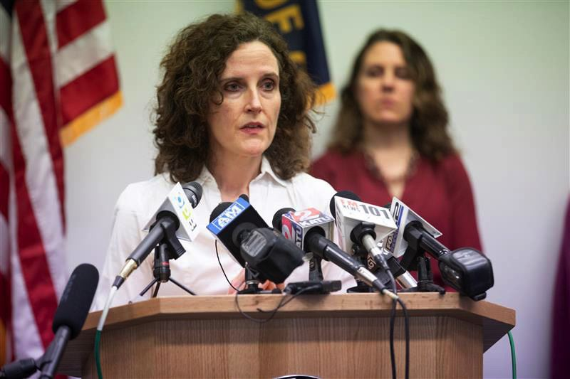 PMG PHOTO: JONATHAN HOUSE - Dr. Jennifer Vines, Tri-County Health Officer, talks about social distancing and a ban on mass gatherings during a Thursday, March 12, press conference on the COVID-19 outbreak.
