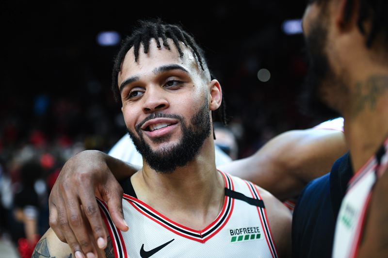 PMG PHOTO: CHRISTOPHER OERTELL - Gary Trent Jr., a second-year guard with the Trail Blazers, has made big strides on the court after getting limited playing time as an NBA rookie.