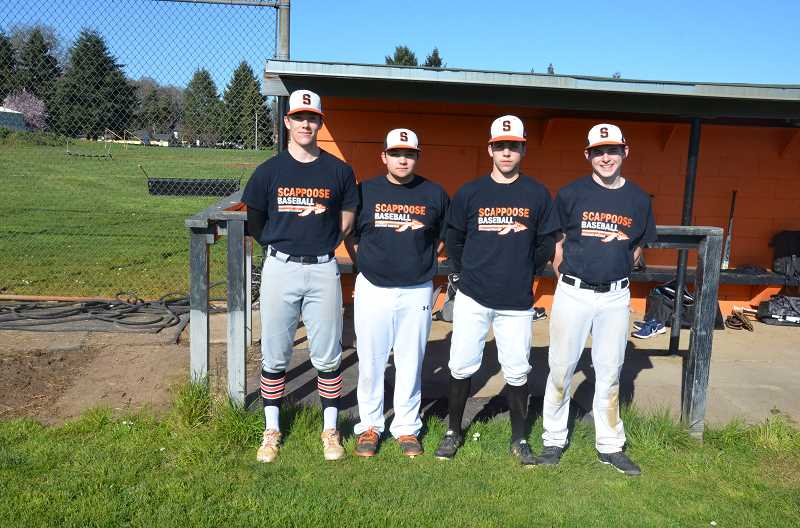 JOHN BREWINGTON, FOR PMG - Four of the five returning members of the Scappoose baseball team.