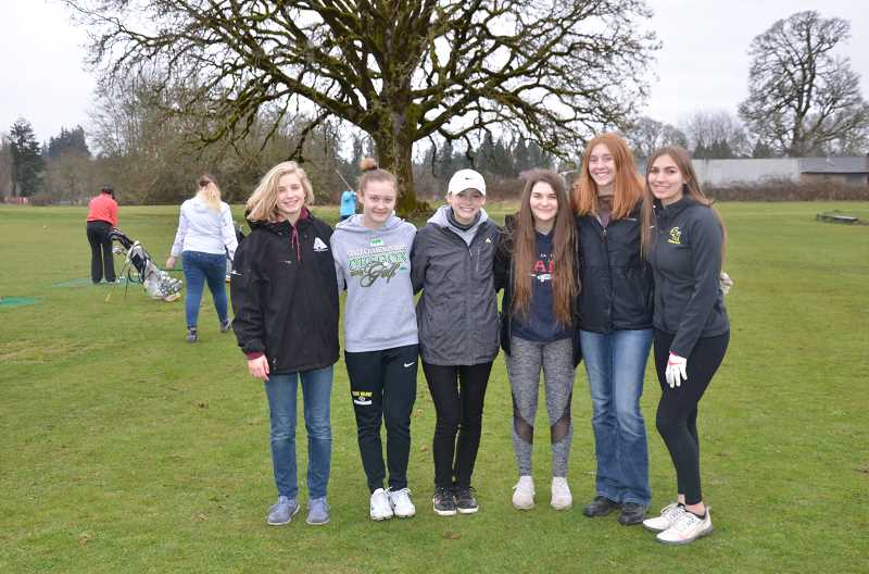 JOHN BREWINGTON, FOR PMG - Returning players for the St. Helens High girls golf team include: (from left) Sarah Vanderwerf; Alexus Burgoyne, state tournament player last year; Grace Bellfuss, Amarah Comer; Maddie Holm, varsity player last season; Mackenzie Carlson, varsity player last season.