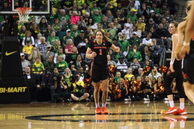 PMG FILE PHOTO: JAIME VALDEZ - Oregon State guard Aleah Goodman reacts after hitting a buzzer-beating 3-pointer against Oregon.