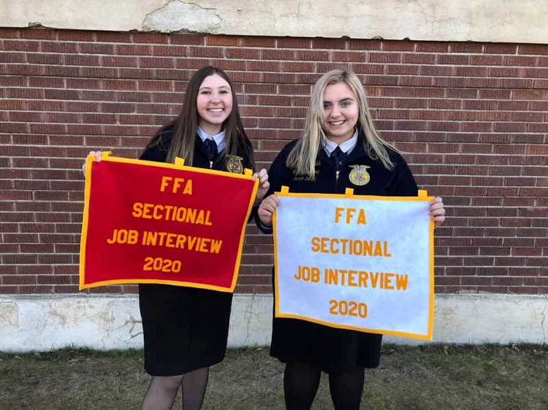 COURTESY PHOTO: MACKENZIE BEHRLE - Lola McIlhenney and Natalee Litchfield show off their second and third place job interview prizes at sectionals.