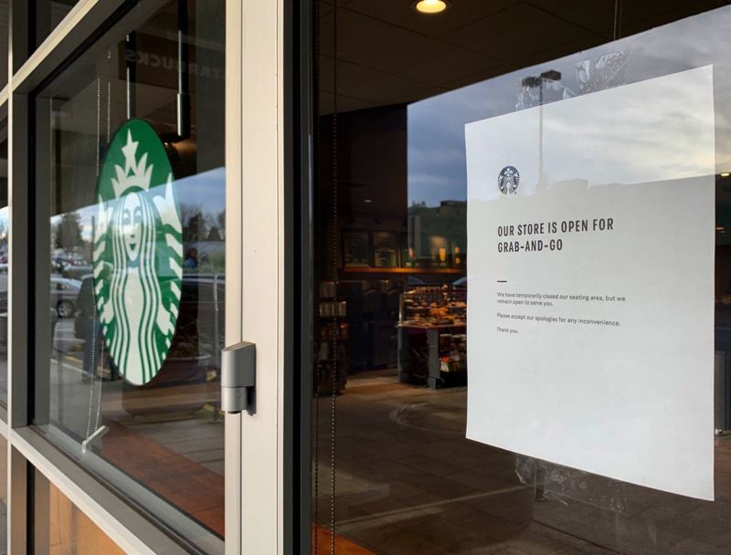 PMG PHOTO: JAIME VALDEZ - Even industy giant Starbucks is changing its business model in light of the corinavirus outbreak.