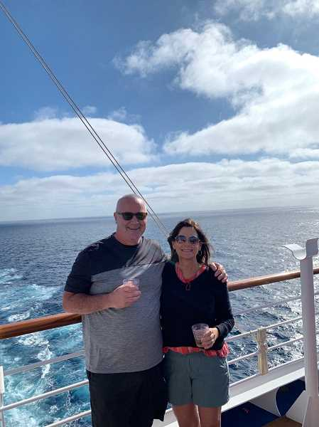 COURTESY OF SIMONE JACKSON - Paul and Simone Jackson, along with family members, were among the thousands confined an additional 24 hours as a passenger was checked for COVID-19 while on a cruise aboard the Carnival Panorama March 7.