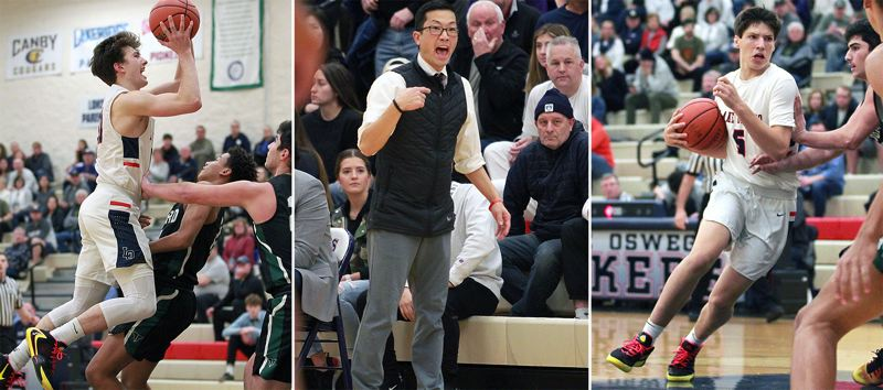 PMG PHOTOS: MILES VANCE - Lake Oswego's (left to right) Sam Abere was named TRL Defensive Player of the Year, Marshall Cho was named TRL Coach of the Year and Casey Graver was one of two Lakers named to the all-league first team.