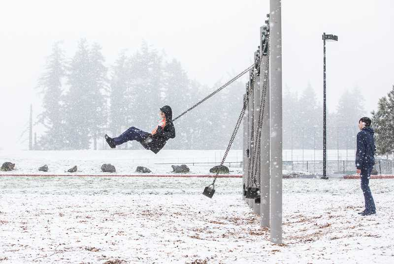 PMG PHOTO: JONATHAN HOUSE - The last day of school for West Linn-Wilsonville students was a snowy one March 13, blessing students with a special send off before more than six weeks out of class.