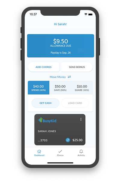 COURTESY PHOTO - For $7.99 a year, the app also offers a BusyKid Visa prepaid spend card that gives children the freedom to spend their allowance in stores or online, and parents see every transaction made.