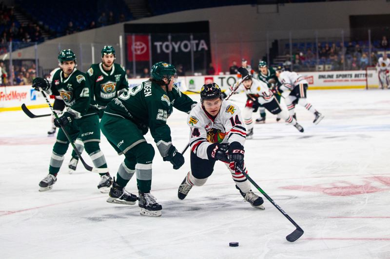 COURTESY PHOTO: MATT WOLFE/PORTLAND WINTERHAWKS - Jake Gricius of the Portland Winterhawks battles the Everett Silvertops in a late-February game at Veterans Memorial Coliseum.