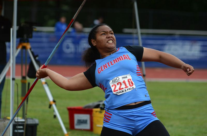 PMG PHOTO: DAVID BALL - Centennial thrower Angel Aluesi makes a throw in the javelin during last years state meet. The OSAA met Wednesday and kept the state championships on the table for spring sports.