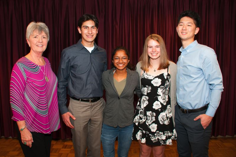 COURTESY PHOTO: GRESHAM ELKS LODGE NO. 1805 - Tina Tebbens, chaplain at the Gresham Elks Lodge, with scholarship winners Tyler Callaway, Sandy High School, Ari Wallace, Barlow High School, Jenessa Teachout, Barlow High School and Erwin Kim, Central Catholic High School.