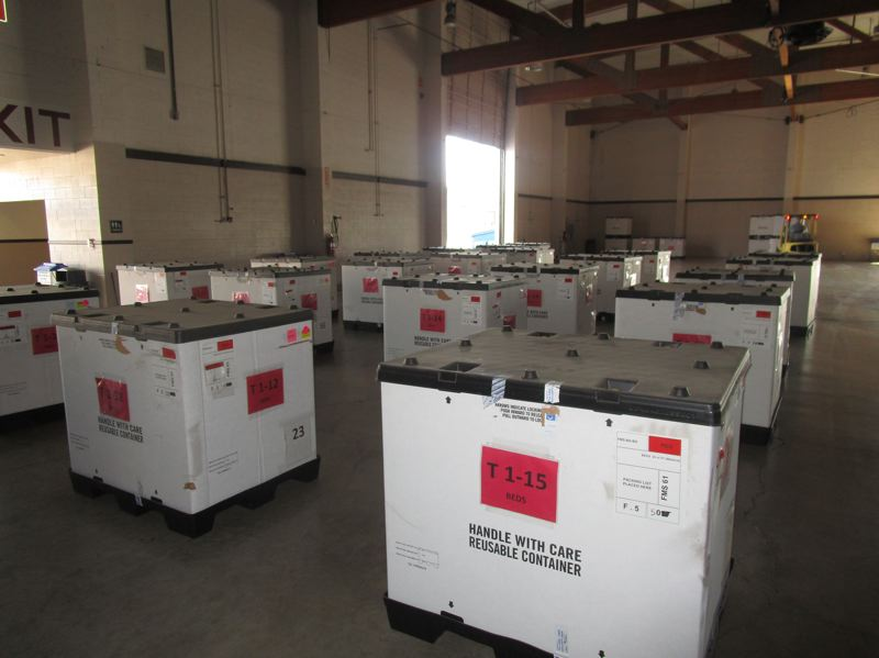 COURTESY PHOTO: BEN BOTKIN/THE LUND REPORT - Supplies for a 250-bed emergency hospital at the Oregon State Fairgrounds were delivered March 18. State health care providers worry they will run out of vital protective equipment.