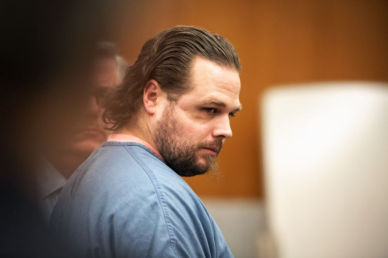 POOL PHOTO: R. FERN, OREGONIAN/OREGONLIVE - Jeremy Christian listens to testimony during the second week of his murder trial, stemming from the violent confrontation on a light rail train in 2017.