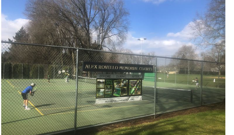 PMG PHOTO: STEVE BRANDON - Tennis players of all ages enjoy a sunny spring day at the Alex Rovello Memorial Courts in Berkeley Park.