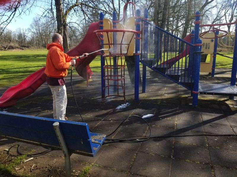 CITY OF ST. HELENS - St. Helens staff sanitizes parks following the novel coronavirus outbreak. 'While we did disinfect the playground equipment today, it is not possible to do this often enough at all of our parks to ensure that these high touch surfaces are being disinfected as frequently as they should be according to the cleaning guidelines for COVID-19 (coronavirus),' the city cautioned. Park visitors should wash hands thorough before and after using park equipment; bring hand sanitizer to the park; bring lawn games to the park; use the walking trails; and avoid the park if at all sick.