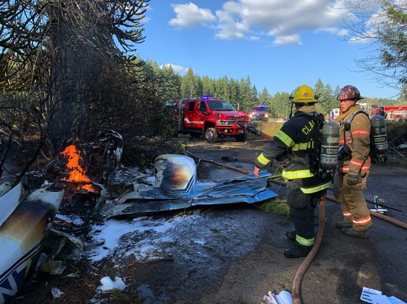 COURTESY PHOTO: CLACKAMAS FIRE - Crews responded to a small plane crash in Eagle Creek on Wednesday, March 18.