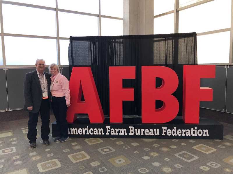 PHOTO COURTESY OF WADE AND JANICE FLEGEL - Wade and Janice Flegel at the annual American Farm Bureau convention, Voice of Agriculture.