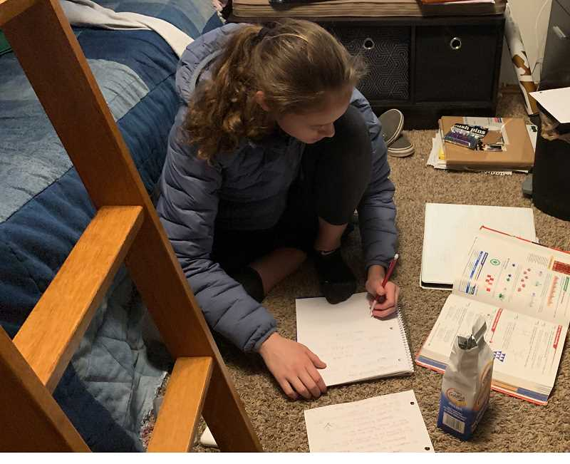 PMG PHOTO: JAIME VALDEZ - Talia Valdez works on homework assignments from her bedroom shortly after a statewide school shutdown. State and school district officials say it's unlikely that schools will shift to online learning during the extended break.