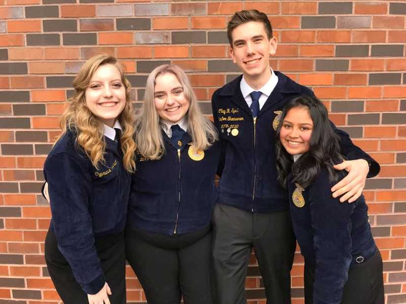 COURTESY PHOTO: MACKENZIE BEHRLE - From left to right are newly elected Mount Hood district vice president Cypress Barrett, current vice Natalee Litchfield, newly elected district president Clay Sperl, and current president Emilie Mendoza.