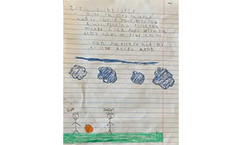 COURTESY PHOTO - Caren Smith's son, Jaxson Kwiecien, a first grader at Metolius Elementary, wrote a letter to his friend from school and drew a picture of the pair playing basketball, while at home during school closures. The letter reads: 