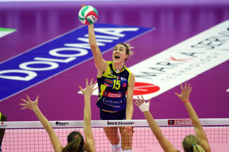 COURTESY PHOTO: USA VOLLEYBALL - Outside hitter Kim Hill's remaining playing days are on hold in Italy, where she was starring for a club team and is awaiting the chance to go for a gold medal in the Olympics with Team USA.