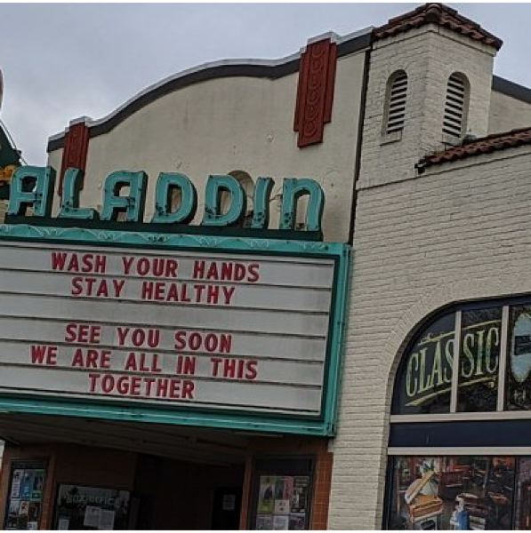 PMG FILE PHOTO - The marque on the Aladdin Theater after it closed.