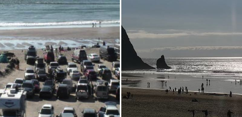 Internet webcams show packed sands as Oregonians ignore social distancing orders up and down the coast on Saturday, March 21.