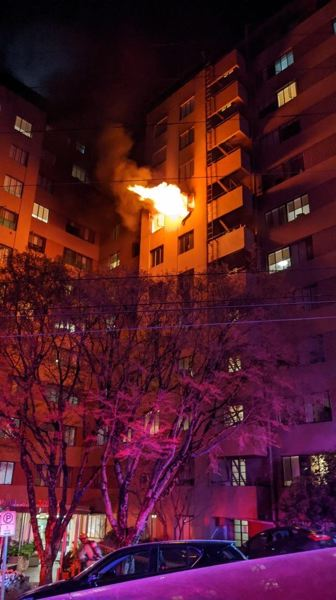 A kitchen caught fire at Portland Towers Apartments in the NW area of the city on Friday night.