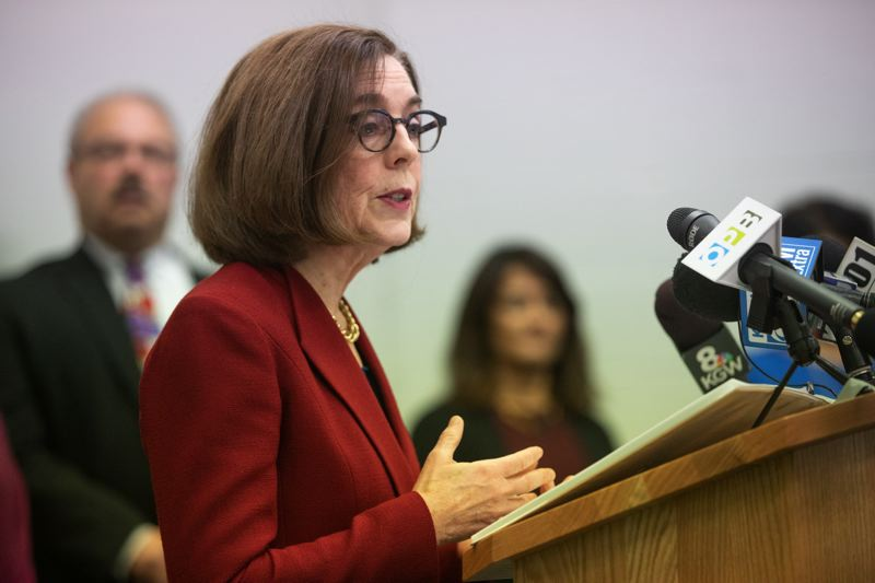 PMG FILE PHOTO - Oregon Gov. Kate Brown gives an update at a press conference earlier this month.