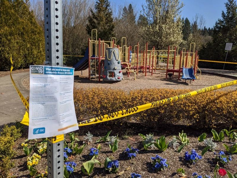 COURTESY PHOTO: RONNIE SMITH - A playground at King City Community Park is cordoned off with yellow tape. The city government is telling residents to stay off play equipment and basketball courts due to COVID-19.
