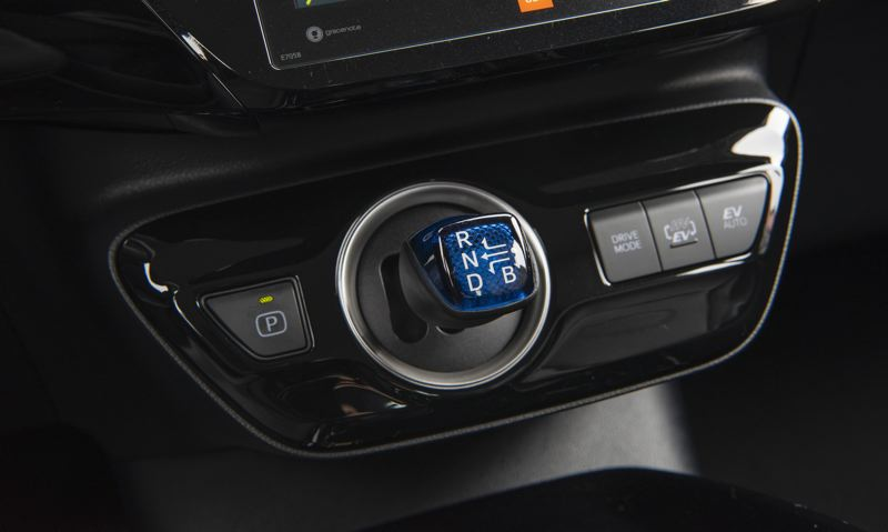 TOYOTA MOTOR NORTH AMERICA - The distinctive transmission shifter is the most visible indication that the 2020 Prius is not a normal gas powered car, but it is easy to get used to.