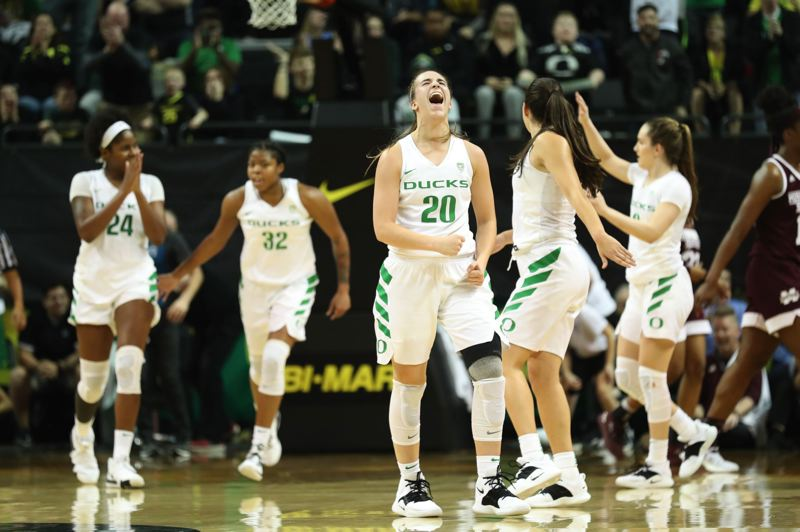 PMG PHOTO: JAIME VALDEZ - Sabrina Ionescu (20) of Oregon was the unanimous choice of Associated Press voters for college women's basketball player of the year.