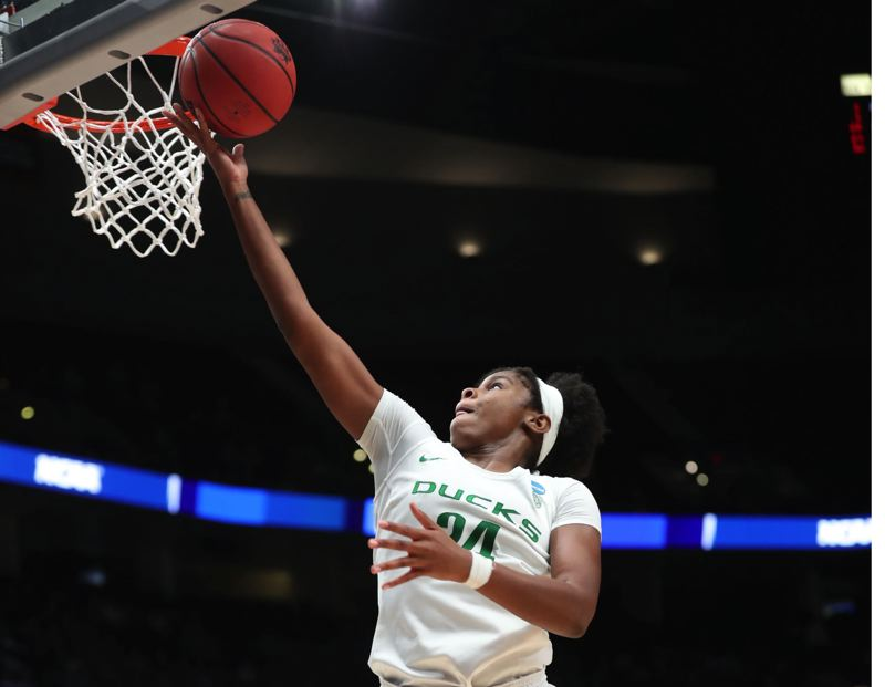 PMG FILE PHOTO: JAIME VALDEZ - Ruthy Hebard scores for the Oregon Ducks in the 2019 NCAA Tournament.