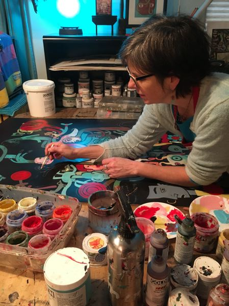 COURTESY PHOTO - An artist works on her craft during a Portland Open Studios event. Artists and arts organizations have responded to a Regional Arts & Culture Council survey in high numbers, forecasting big losses during the health and economic crisis.