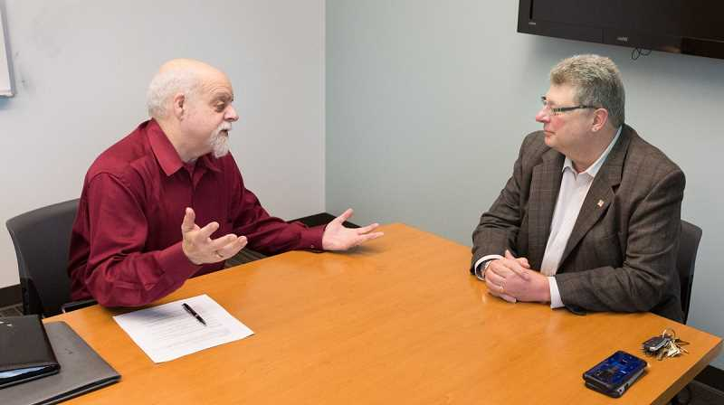 COURTESY PHOTO - Rob Solomon (left) hosts a radio segment to highlight various issues and elections in Washington County. He was previously the presiden of the countys public affairs forum.