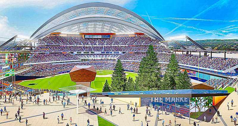 COURTESY OF THE PORTLAND DIAMOND PROJECT - Heres a working-concept illustration of the major league baseball stadium being proposed for Portland - perhaps upon Port of Portland property. More information and illustrations are available on their website.