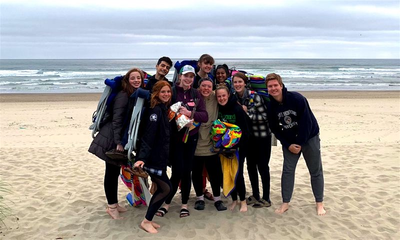 COURTESY PHOTO - Tigard High School senior Sarah Gentry (bottom row, third from right) is with the school's committee chairs for leadership during a beach trip.