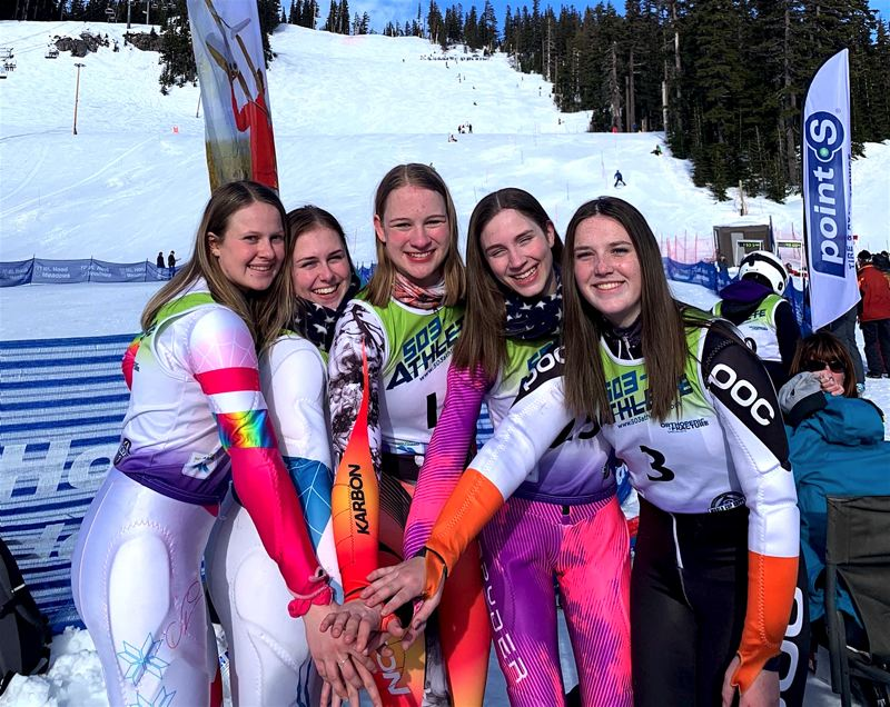 COURTESY PHOTO - Tigard High School senior Sarah Gentry (far left), helped the Tigers' girls ski team win the Metro League championship for the first time ever.
