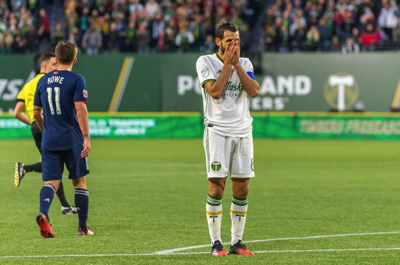 COURTESY PHOTO: DIEGO G. DIAZ - Diego Valeri of the Portland Timbers reacts to a missed shot in a 2020 preseason game against the New England Revolution.