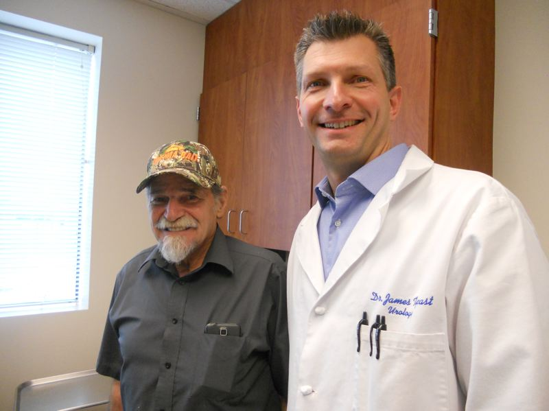 PMG PHOTO: SCOTT KEITH - Dr. James Tycast, right, treated 70-year-old Beryl Terry of Newberg, left, with a new procedure called UroLift.