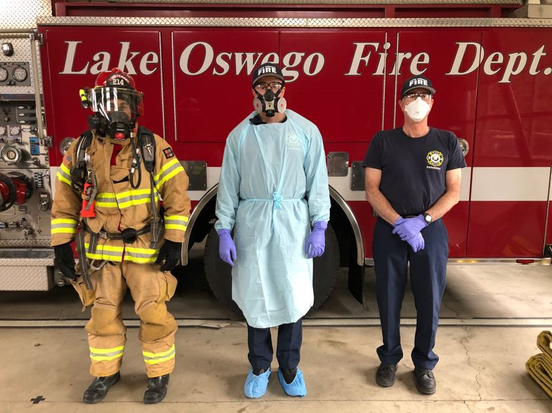 COURTESY PHOTO - Lake Oswego Fire Department employees wear protective gear on calls and are seeking donations.