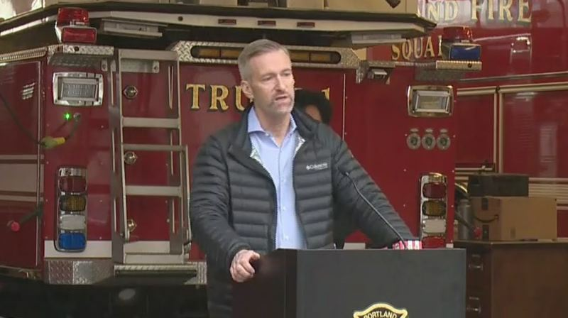 KOIN NEWS 6 - Mayor Ted Wheeler at a press conference on Tuesday, March 24.