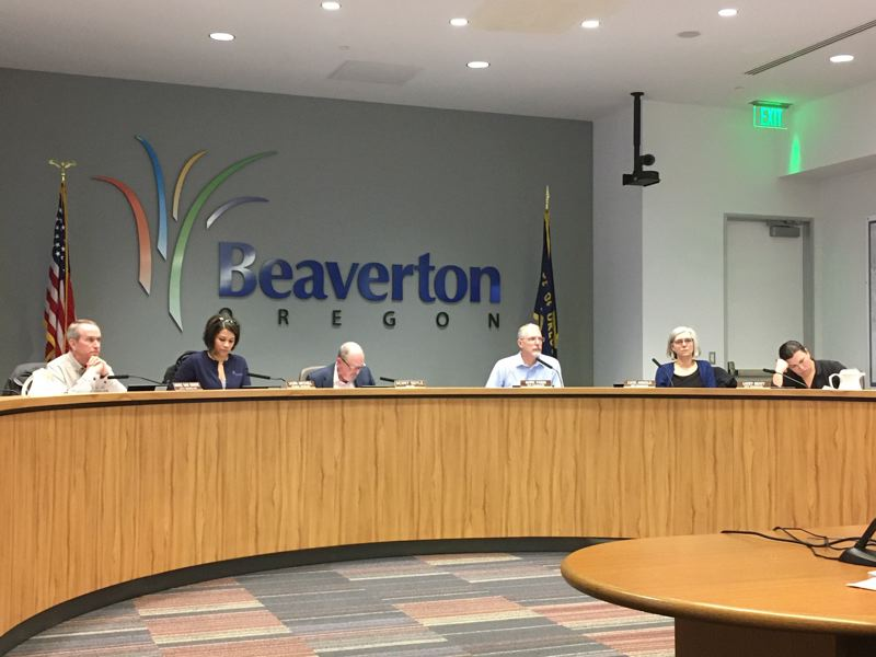 PMG PHOTO: PETER WONG - The Beaverton City Council sits for a February meeting.