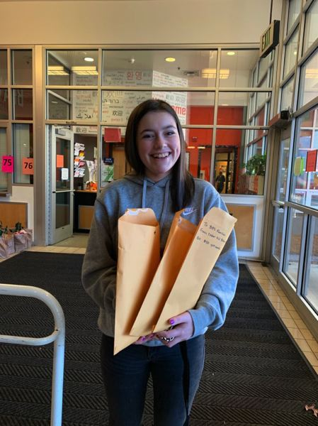 COURTESY PHOTO: BETHANY RICHTER - Beaverton sophomore Sydney Richter and the Cedar Mill Bible Church congregation raised $12,500 in food gift cards in a single day.