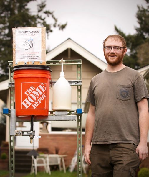 PAMPLIN MEDIA GROUP: JAIME VALDEZ - Apprentice electrician Jesse Harwin quit work to be more helpful to his north Portland community, and started by building a handwashing station on his front lawn. He dealt with online critics with grace and class.