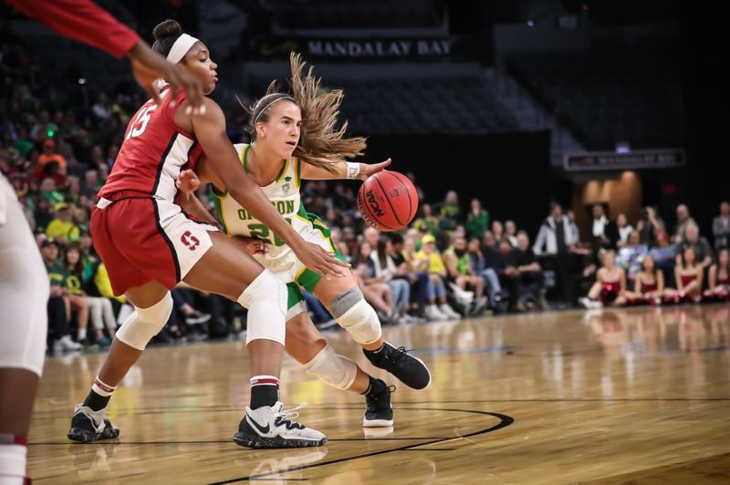 COURTESY PHOTO: SERENA MORONES - Sabrina Ionescu takes on a Stanford defender during the 2020 Pac-12 tournament final.