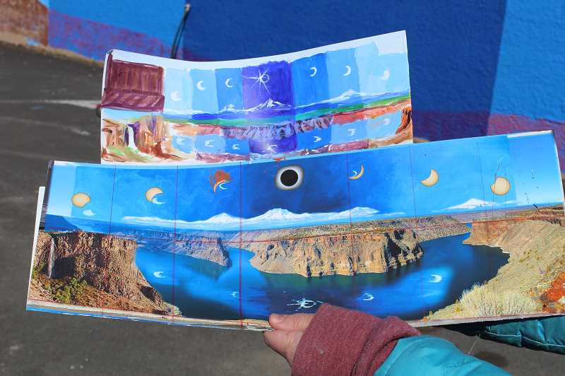 DESIREE BERGSTROM/MADRAS PIONEER - Karen Eland, a Bend artist known for her work painting with coffee and beer, was commissioned to paint to a mural in Madras as part of planned mural trail. She chose to paint the stages of 2017 solar eclipse over the landscape of Cove Palisades State Park.
