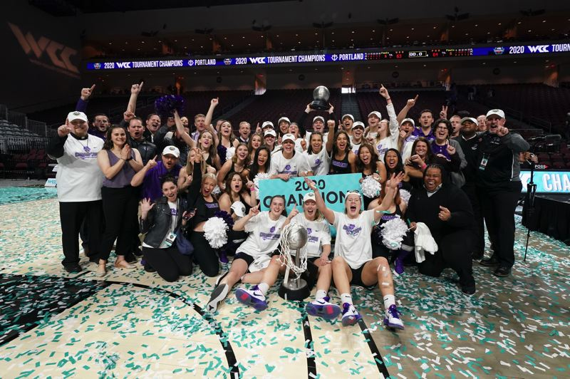 COURTESY PHOTO: UNIVERSITY OF PORTLAND - The Portland Pilots celebrate their West Coast Conference women's basketball tournament championship in Las Vegas, Nevada.