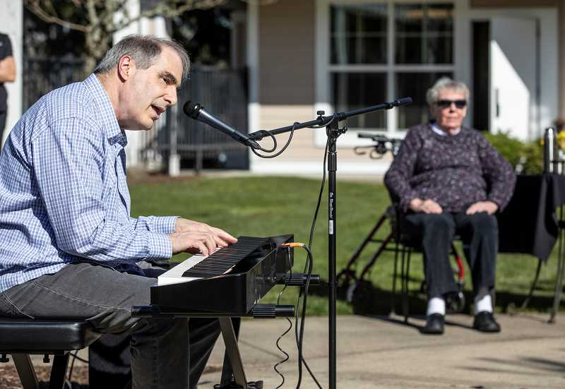 PMG PHOTO: JONATHAN HOUSE - Larry Calame performs an afternoon concert for residents at Stafford Retirement Community.